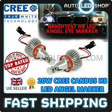 BMW H8 CREE 20W LED ANGEL EYE MARKERS RINGS BULB UPGRADE XENON CANBUS WHITE