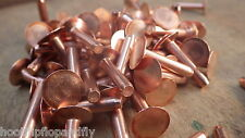 "50 x SOLID COPPER FLAT HEAD RIVETS 5/32"" x 3/4"" LARGE HEAD 4mm x 21mm 8g hose"