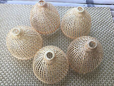 5 Sets of small bamboo basket container handmade for put light bulb