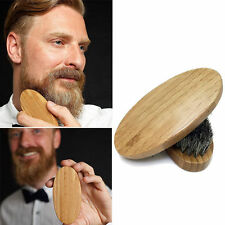 Men Boar Hair Bristle Beard Mustache Brush Military Hard Round Wood Handle New