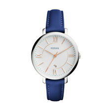 "Fossil ES3986 ""Jacqueline"" Silver-Tone and Blue Leather Strap Watch"