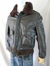 TRUE VINTAGE dark brown leather A-1 flight military retro bomber jacket LARGE