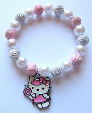 Hello Kitty Style Lollipop Charm Stretch Bracelet 7 inch With Organza Gift Bag