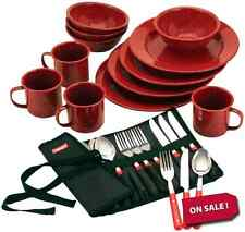 Coleman Spoon Forks Bag Knife Dishes Plates Cup Dinnerware 24 Piece Set Camping