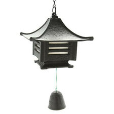 Japanese Furin Wind Chime Cast Iron Square Castle Lantern w/Bell/ Made in Japan