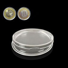 Round Cases Coin Storage Capsules Holder Clear Plastic 10X27mm ab