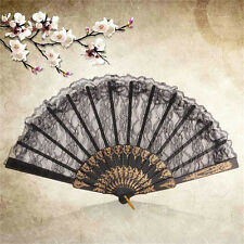 Black Spanish Style Dance Party Wedding Lace Silk Folding Hands Held Flowers Fan