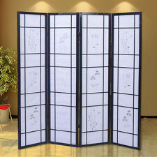 4 Panel Flowered Room Divider Screen Style Shoji Solid Wood Black New