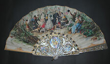 SUPERB ANTIQUE VICTORIAN HAND CARVED GOLD MOTHER PEARL PAINTED WEDDING SCENE FAN