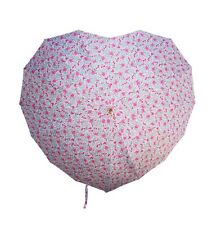 Vintage Pink Ditsy Floral Heart Shaped Stick Umbrella by Sass and Belle * Gift