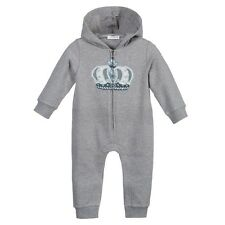 DOLCE AND GABBANA BABY GREY CROWN HOODED BABYGROW 3-6 MONTHS