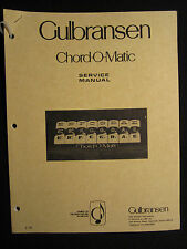 Gulbransen Chord O Matic Organ Service Manual Schematics FACTORY