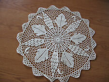 """pretty vintage white colored hand crocheted crochet  doilie 15"""""""