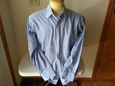 Ben Sherman light blue - tan stripe long sleeve shirt - mens 16/32-33 large