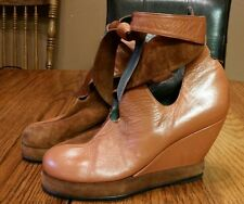 Jan Jansen Vintage Leather & Suede Wedge Ankle Boot / Pump Size 37 EU