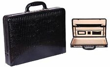 Real Leather Briefcase Black Croc Slim Attache Case Traditional High Quality