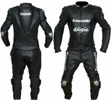 KAWASAKI MOTORCYCLE LEATHER RACING BLACK SUIT CE APPROVED TPU ARMOR ALL SIZES