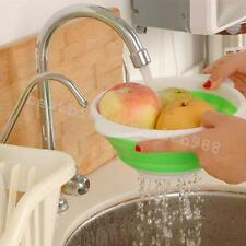Kitchen Craft Collapsible Silicone Draining Fruit Folding Colander Strainer Home