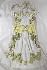 "ROBERTO CAVALLI WHITE JERSEY ""FLORAL PRINT"" HALTER DRESS - IT 40 / US 2 / 4"