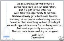 50 x mariage poèmes pour invite asking for cash vers lune de miel-blue bird cage