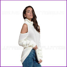 Cold Shoulder Jumper Dress Top polo High neck Knitted Womens Ladies Sizes New ❤