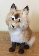 Vintage Fox Figure Real Fur Animal Figurine