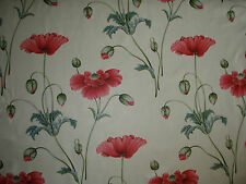 "SANDERSON CURTAIN FABRIC DESIGN ""Persian Poppy"" 2.6 METRES PINK AND TEAL"