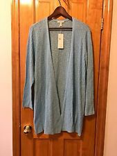 $238 NWT EILEEN FISHER WIND FLOWER ORGANIC LINEN COTTON SLUB LONG CARDIGAN 1X