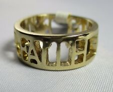 Ring Size 7.5 FAITH Cut Out Filigree Wide Band Shiny Gold Spiritual NWT T3