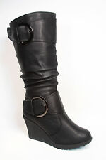 Women's Cute Round Toe Slouch Buckle Wedge Mid Calf  Boot Shoes Size 5 -10 NEW