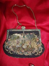 Antique Petit Point Tapestry Needlepoint Purse with Jeweled Clasp