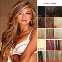 """15"""" Full Head Clip In 100% Remy Real Human Hair Extensions Black Brown Blonde"""