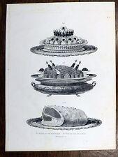 Gravure URBAIN DUBOIS Cuisine Artistique 1874 Oreilles de Veau / Aloyau rôti...