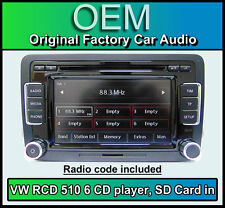 VW Polo car stereo, RCD 510 radio 6 CD changer, touchscreen SD card, Volkswagen