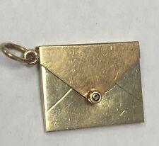 Vintage A.C. 14K Gold Mechanical Envelope Charm Pendant For Bracelet