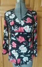 Crave Maternity shirt black floral medium m fall winter