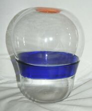 Vintage Modern European Eames Era Mid Century Art Studio Orange Blue Glass Vase