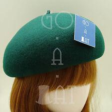 VINTAGE Wool Felt Women Soft Beret Pillbox Ladies Crown Hat | 56cm | Black Brown
