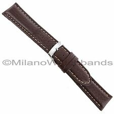 22mm Morellato Forest Padded Genuine Leather Brown White Stitch Watch Band 2987