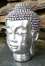 Chrome Silver Buddha Head Sculpture Ornament indoor outdoor garden Home