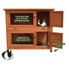 NEW DOUBLE RABIT GUINEA PIG HUTCH HOUSE RUN PET WOODED COOP FREE DELIVERY