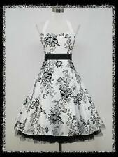 dress190 WHITE HALTER FLOCK TATTOO ROCKABILLY PROM PARTY COCKTAIL DRESS UK 14-16