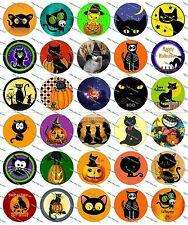 """30 Precut 1"""" Halloween Cats Bottle cap Images Set 1"""