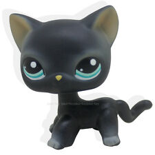 Rare Littlest Pet Shop Black Short Hair Cat Kitty Blue Eyes Figure Toy LPS #994