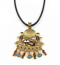 Gold Plated Egyptian Eye of Horus Ra Udjat Enamel Pendant Necklace