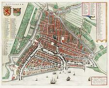 MAP ANTIQUE BLAEU ROTTERDAM CITY PLAN HISTORIC LARGE REPRO POSTER PRINT PAM0581