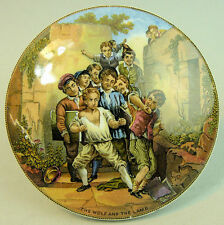 A FINE VICTORIAN PRATT WARE POT LID, 'THE WOLF AND THE LAMB', CIRCA 1870