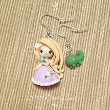 Orecchini Chibi Rapunzel ~ Cute Disney Earrings Fimo Polymer Clay Kawaii tiny