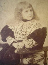 EARLY 1900´s GIRL w/EDWARDIAN DRESS LARGE ECRU COLLAR BOOTS & HAIRSTYLE PHOTO