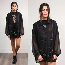 90S WOMENS VINTAGE SHIRT BLOUSE GRUNGE STYLE BLACK SHEER PLEATED OPEN COLLAR 22